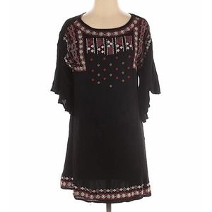 Swagger Boho Embroidered Dress Black Small